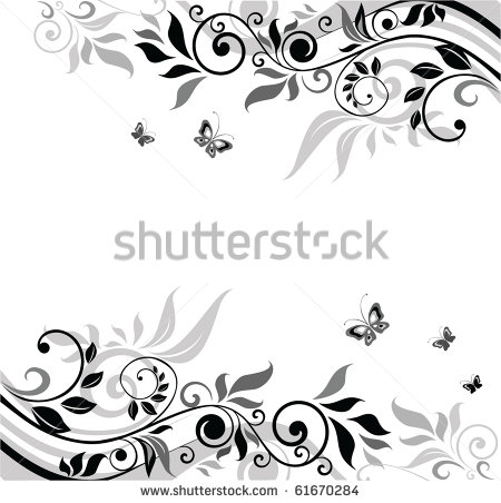 Black and White Floral Banner