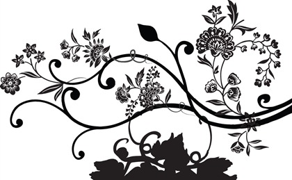 Black and White Floral Vector Graphics