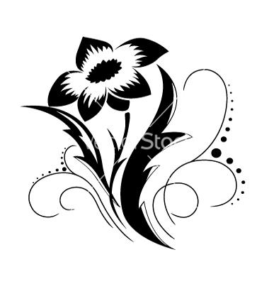 Black and White Flower Vector Art