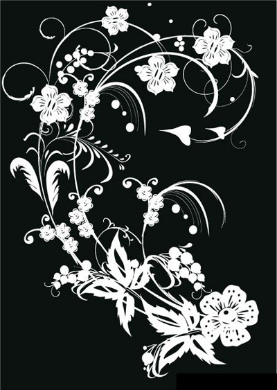 Black and White Flower Vector Graphics