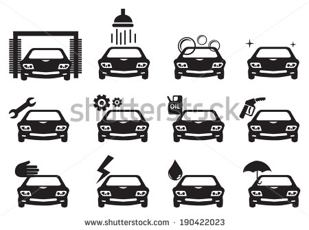 Black and White Vector Car Wash