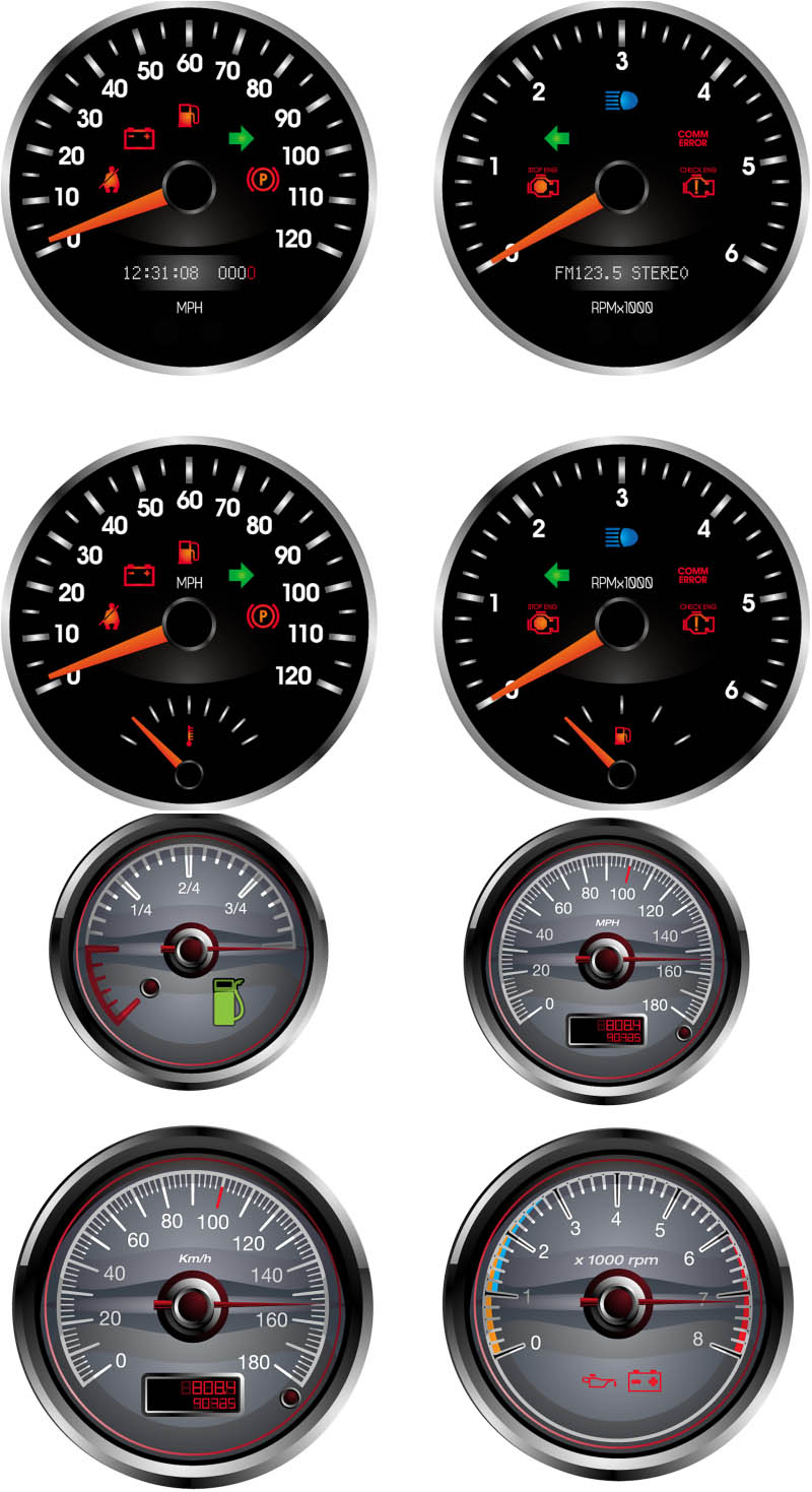 8 Super Car Dash Vector Images