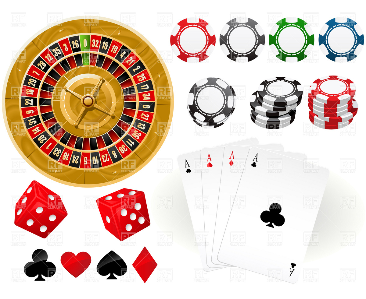 Casino Chips and Card Clip Art
