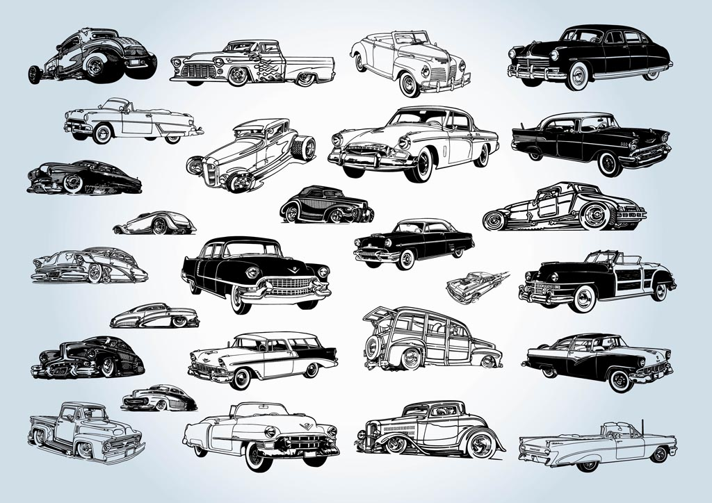 9 Classic Car Vector Images
