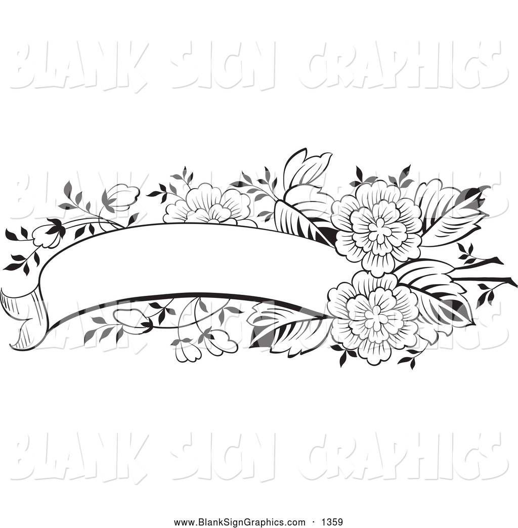 15 Black And White Floral Banners Vectors Images