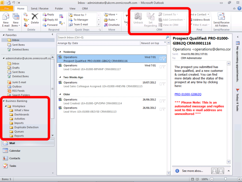 Dynamics CRM Outlook Ribbon