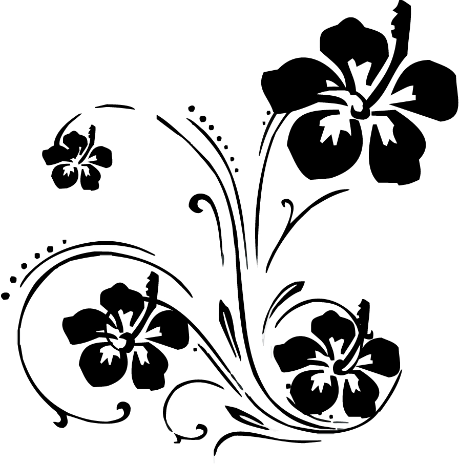 Flower Swirl Clip Art Black and White