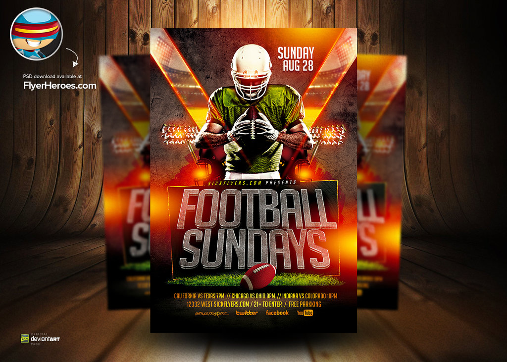 15 Free Psd Football Templates Designs Images Football Flyer