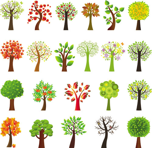 14 Nature Summer Tree Vector Images