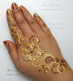 Gold Henna Tattoo Flowers Design