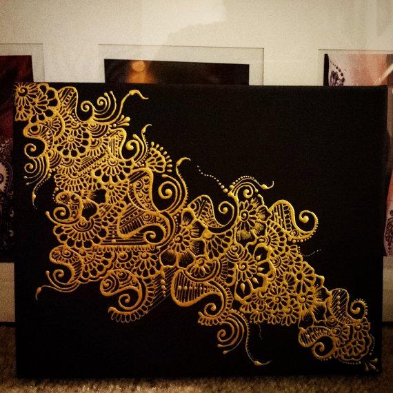 Henna Design On Canvas Painting Ideas