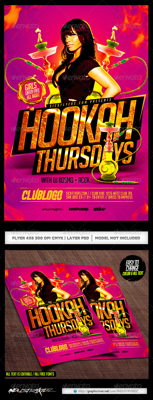 12 Hookah Lounge Flyer PSD Images