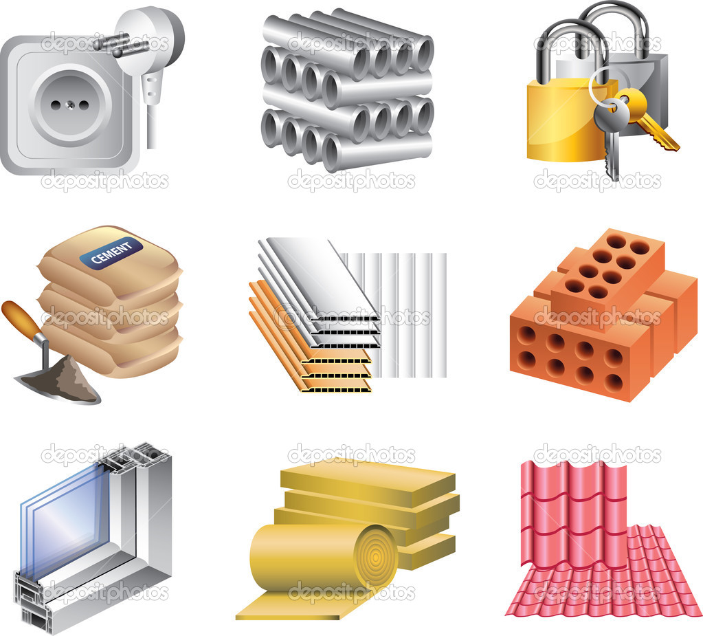 6 Construction Materials Icon Images