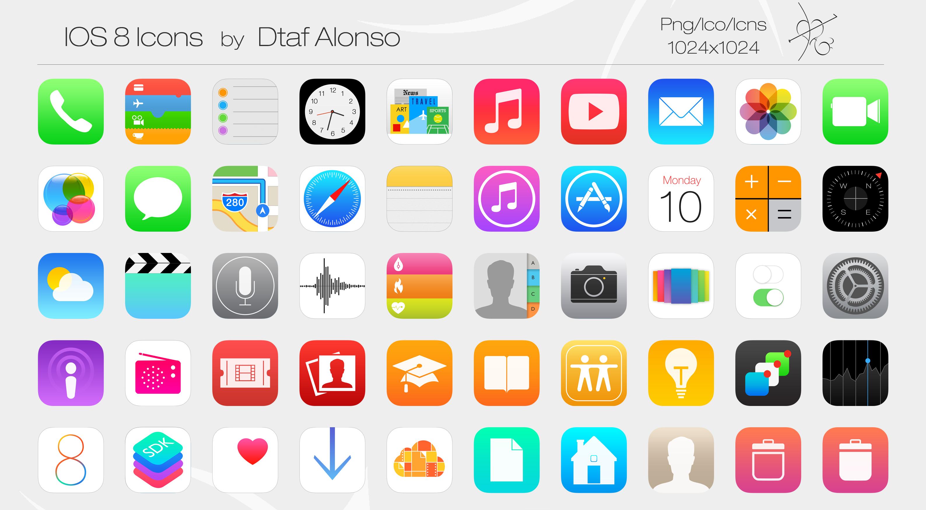 iOS 8 iPhone App Icons Printable