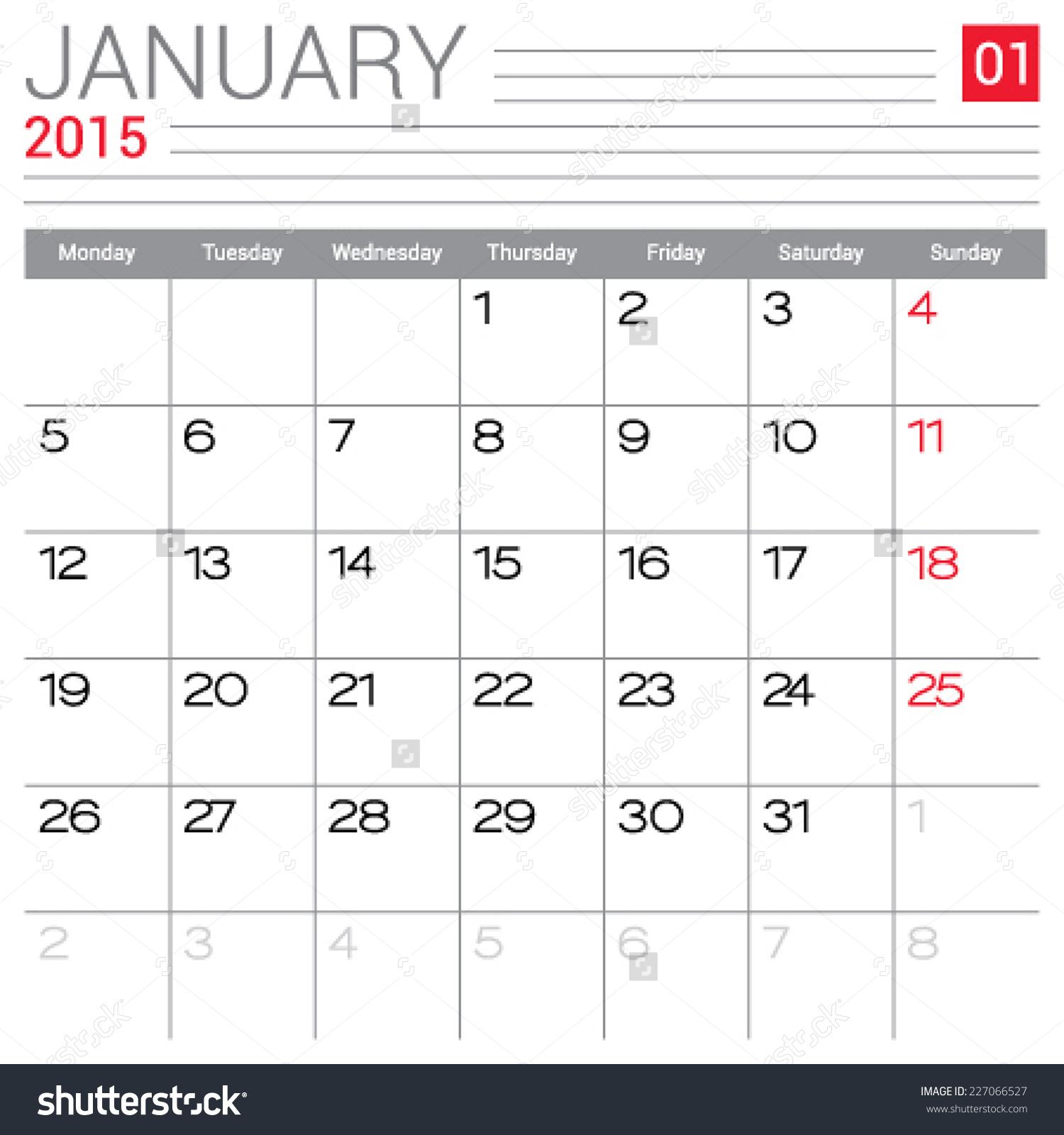 January 2015 Calendar Template Blank