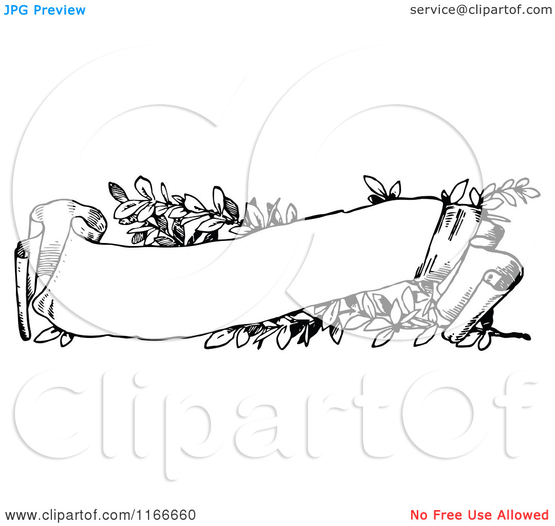 Scroll Banner Clip Art Black and White