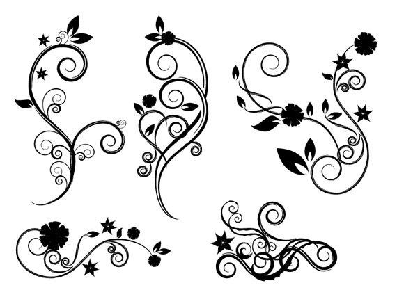 Small Flower Clip Art Swirl Designs