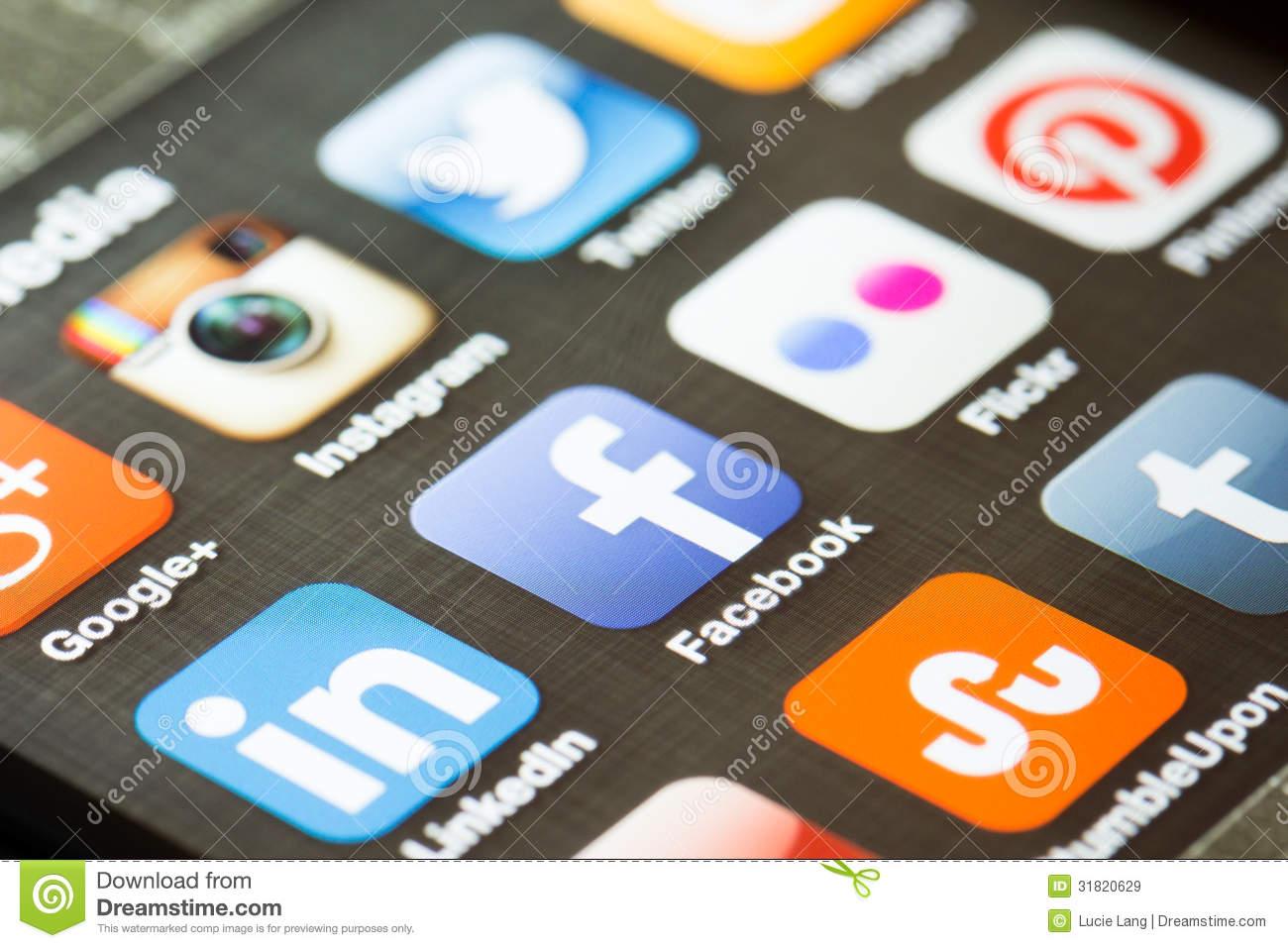Social Media Icons On a Phone App