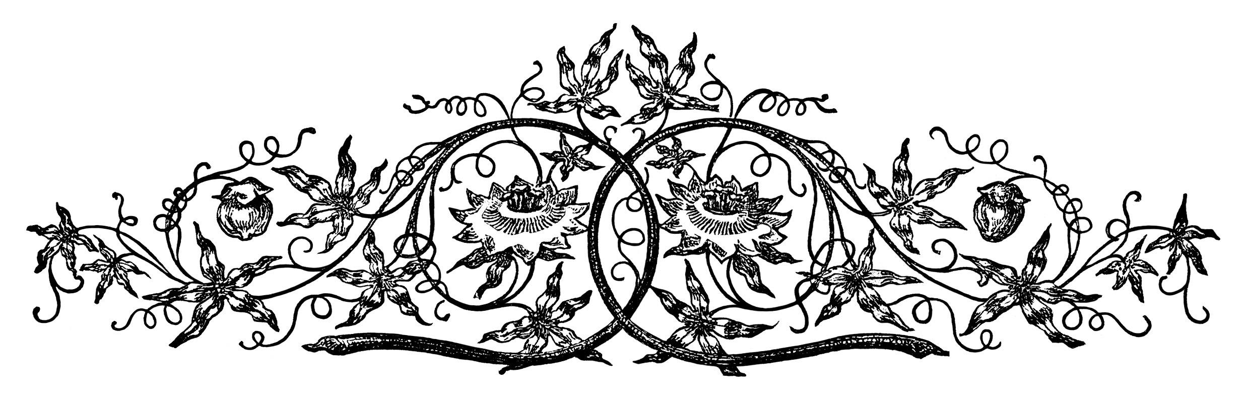 Vintage Swirl Designs Clip Art