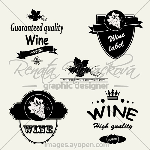 Wine Label Vector Silhouettes