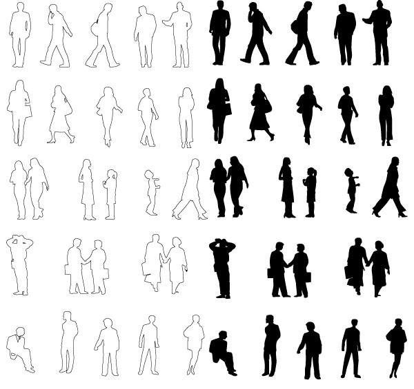 Architecture People Silhouettes