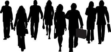 Business People Walking Away