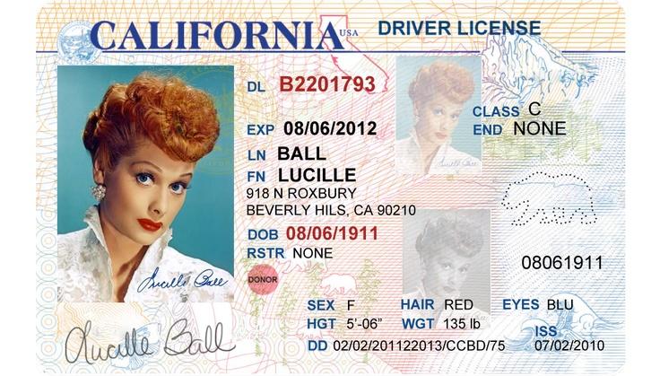 California Drivers License Template