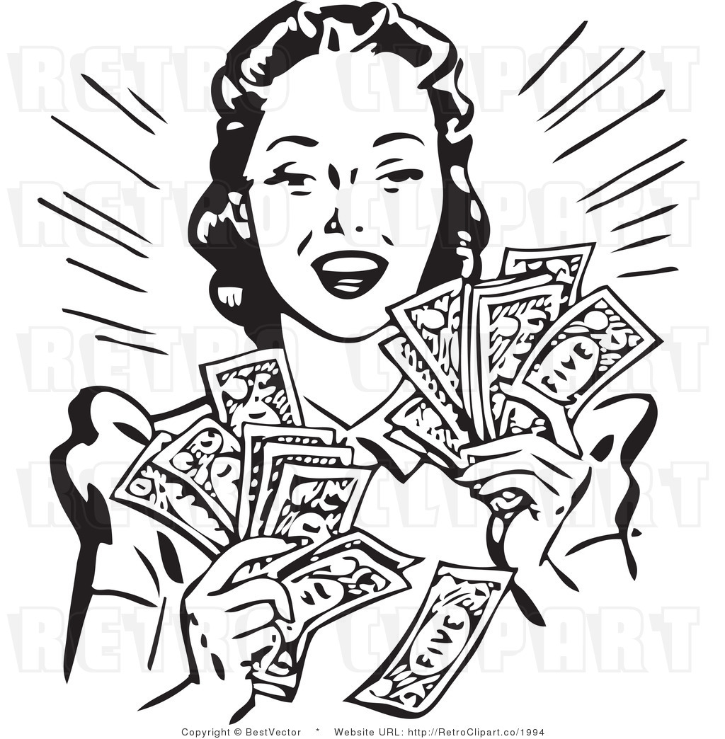 Cash Clip Art Black and White
