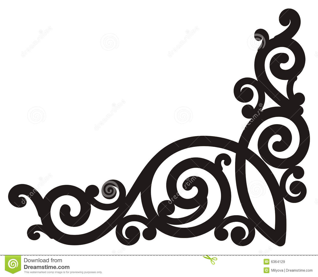 Corner Swirl Design Border