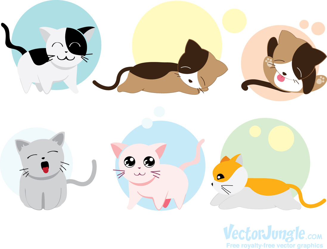 13 Cute Cat Vector Images