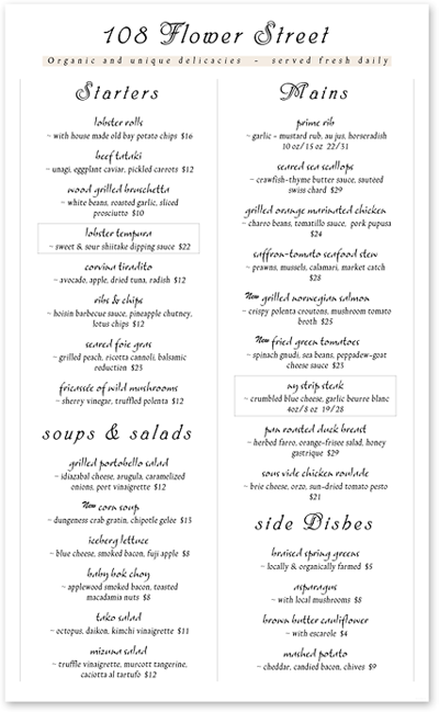 6 Fancy Restaurant Menu Designs Images