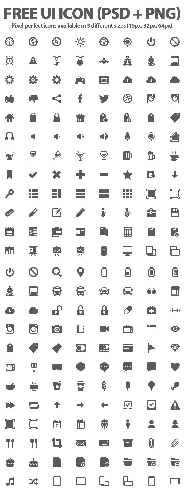 Free UI Icons PSD