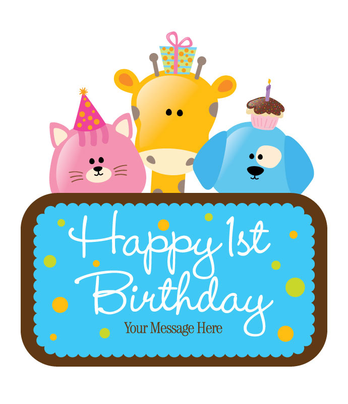 Happy First Birthday Via Free Greeting Card Designs