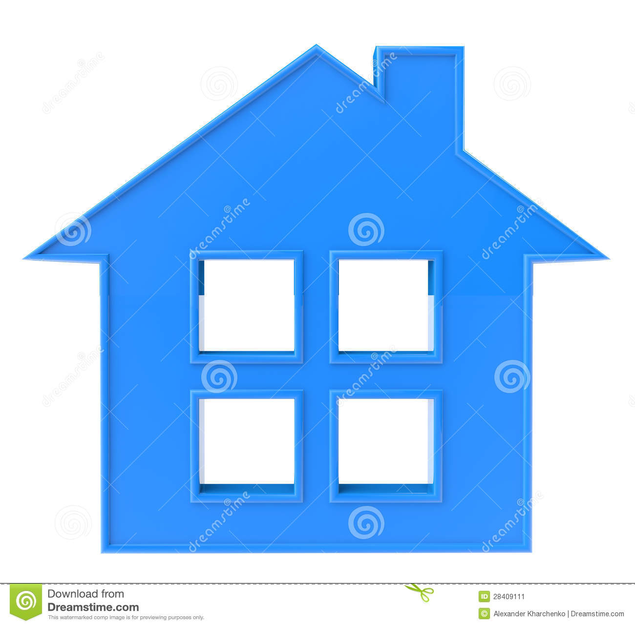 7 Home Blue Icon 3D Images