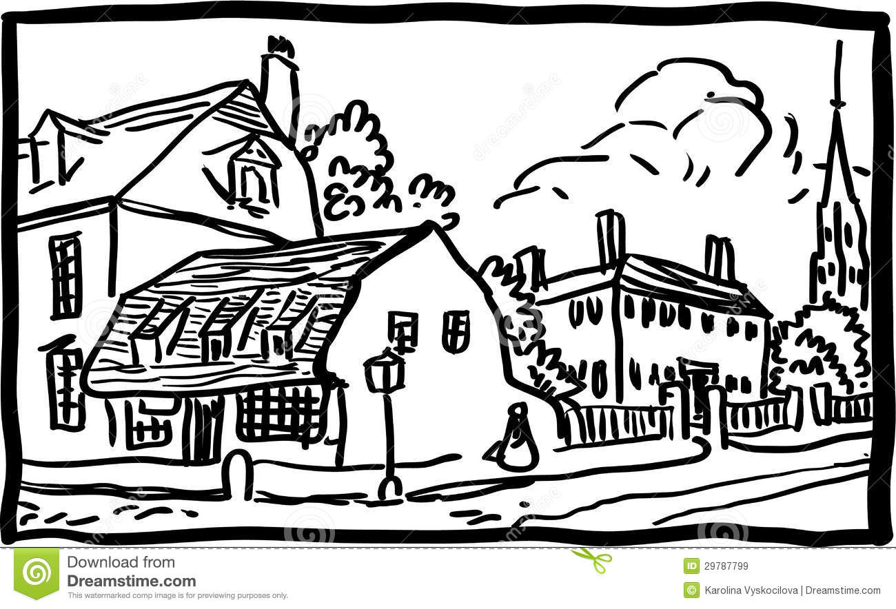 17 vector black and white landscape images urban