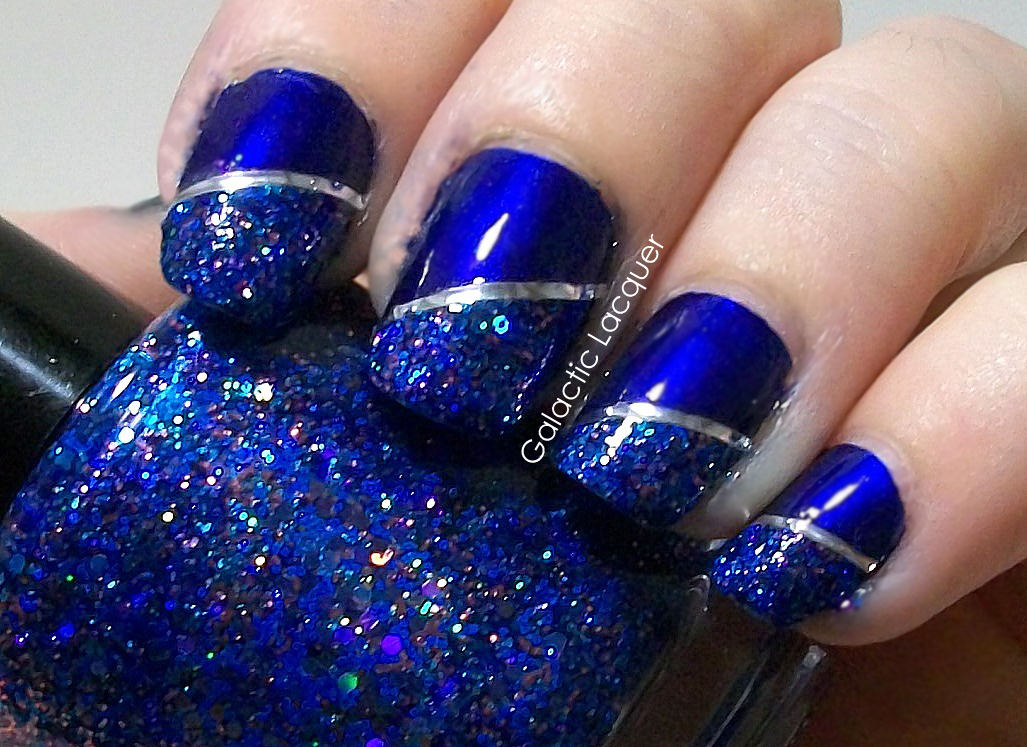 14 Midnight Blue Nails With White Design Images