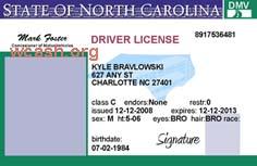 North Carolina Drivers License Template