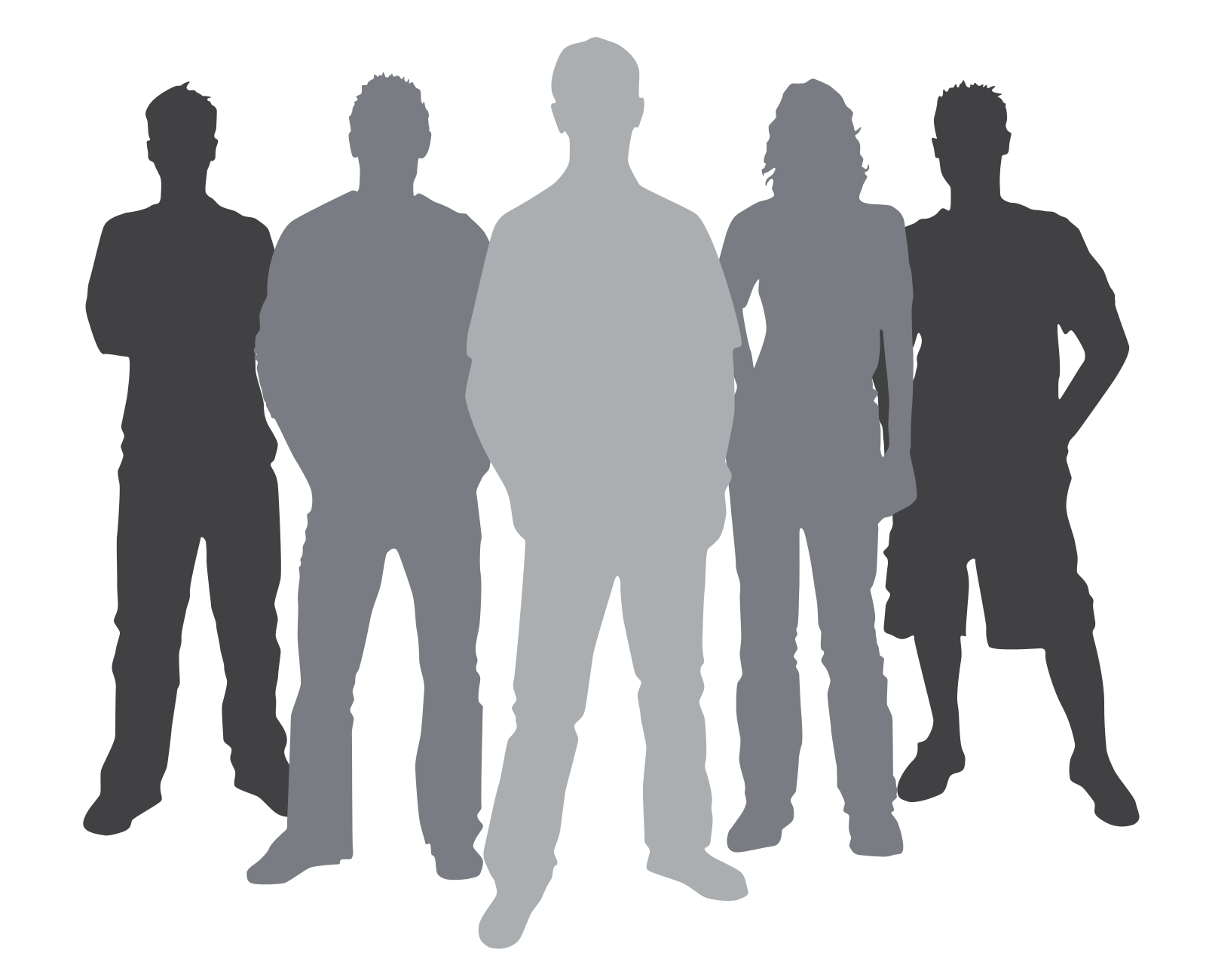 14 Group Of People Silhouette Vector Clip Art Images