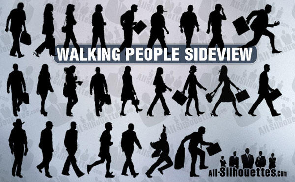 Photoshop People Silhouettes Walking