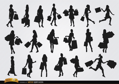 Silhouette of Girl Walking with Shopping Bags