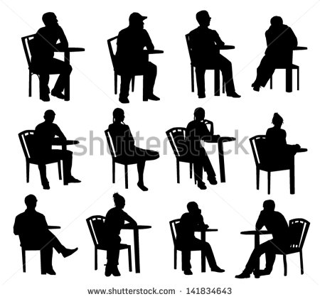 Silhouette People Sitting at Tables