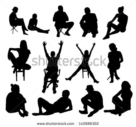 Silhouette People Sitting Down