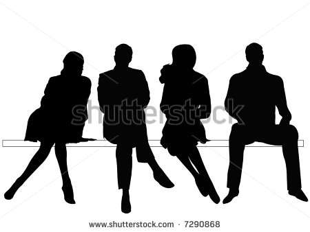 Silhouette People Sitting On Benches