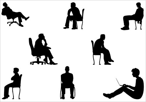 Silhouette Sitting Vector