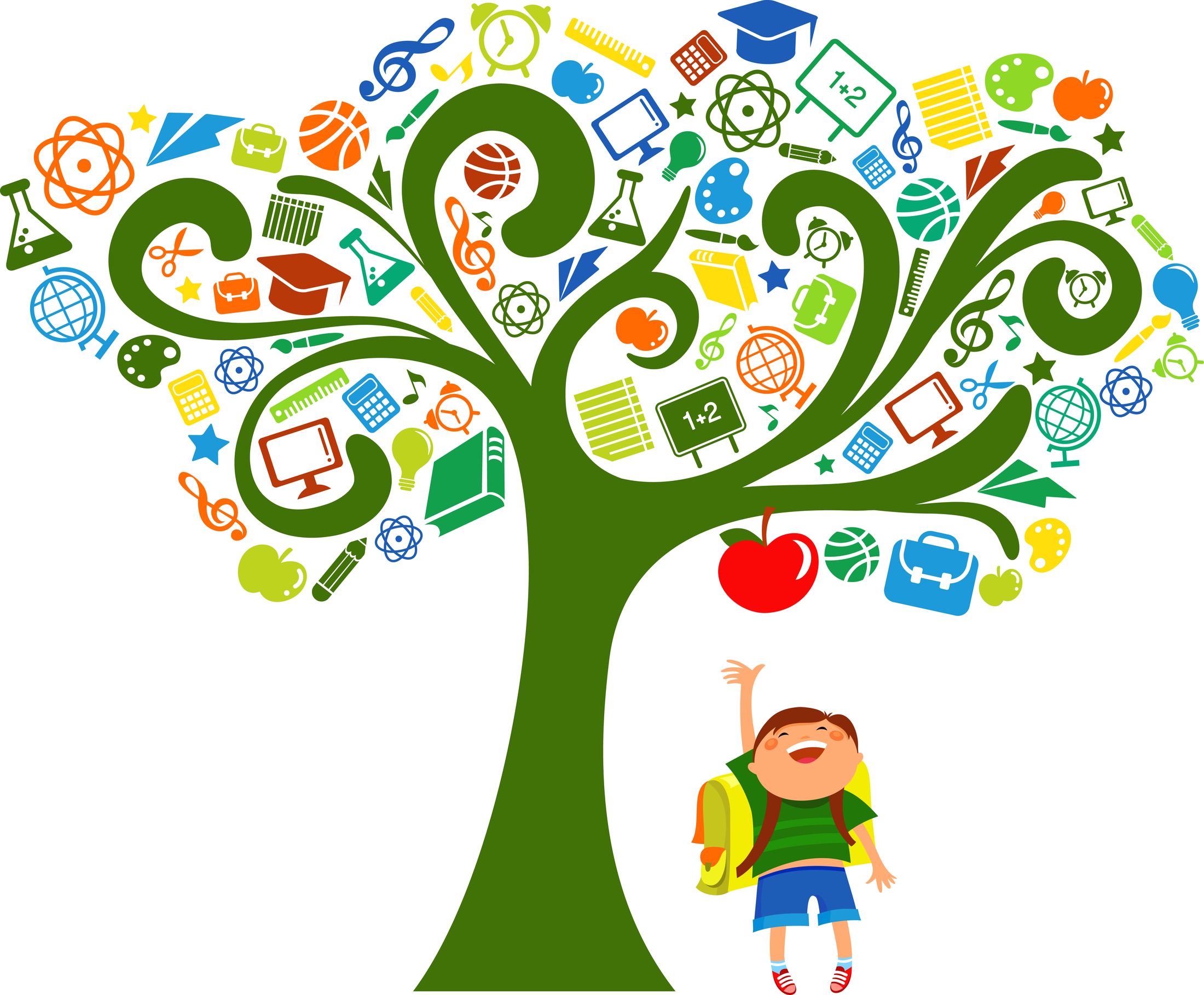 Tree Back to School with Education Icons