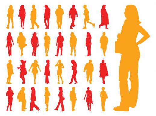 Walking People Silhouette Vector