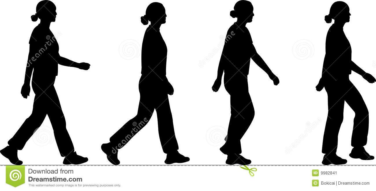 Woman Walking Silhouette Vector