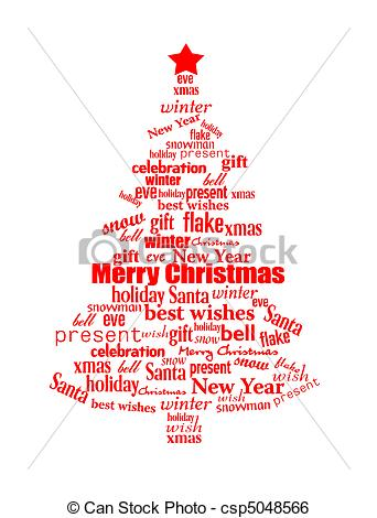 Word Christmas Tree Clip Art