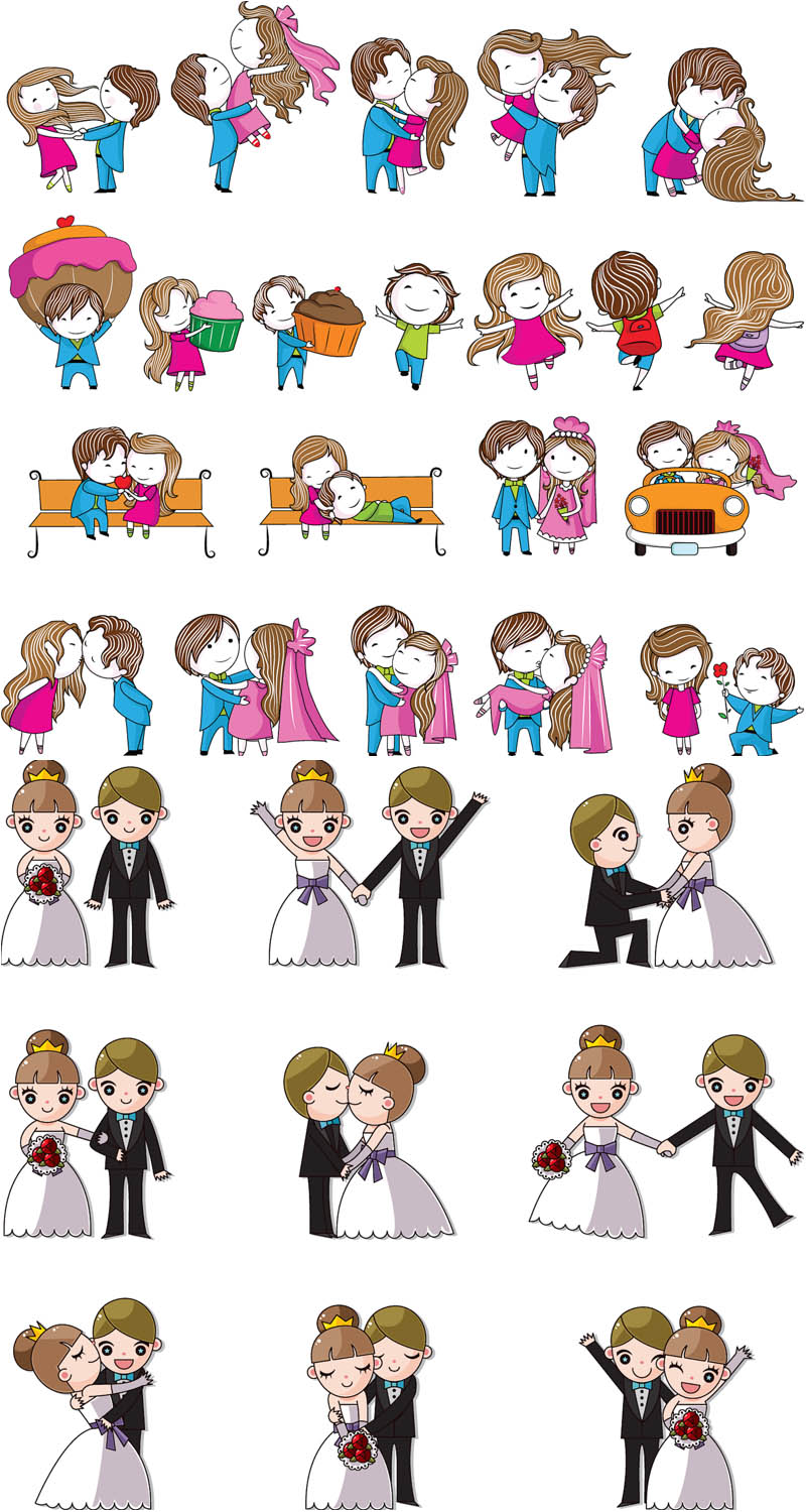XOO Plate :: Cartoon Style Wedding Elements Vector Pack - Nice