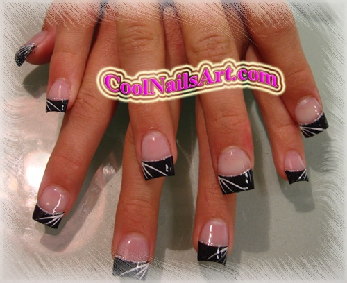 Black White Tip Acrylic Nail Designs